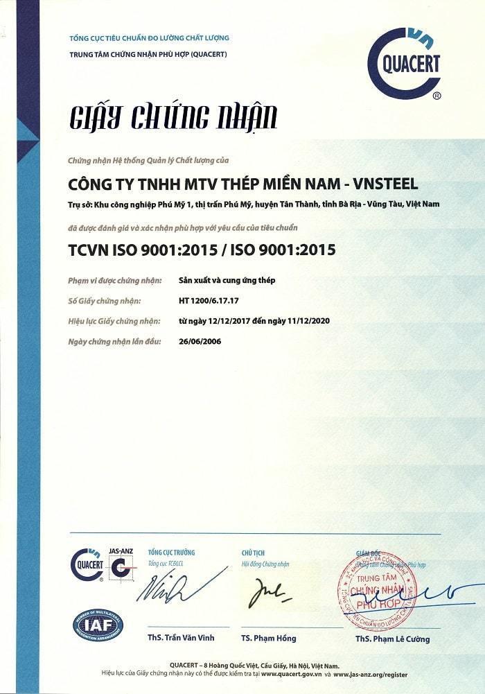 Giấy chứng nhận ISO thép miền nam