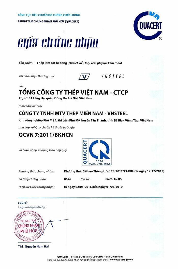 giấy chứng nhận hợp quy hợp chuẩn thép miền nam