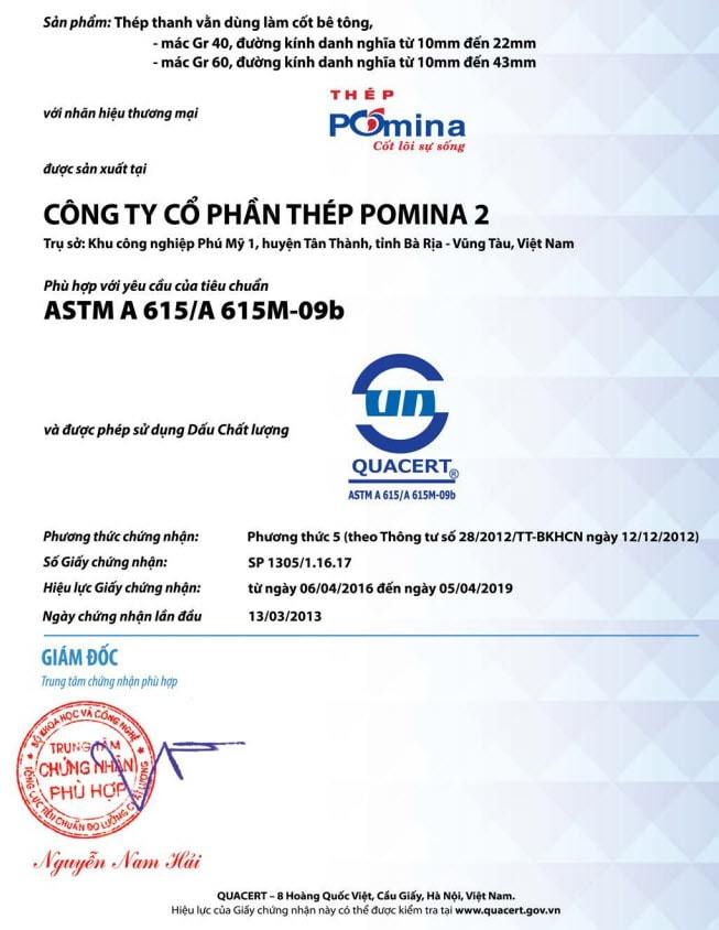 thép Pomina đạt tiêu chuẩn ASTM