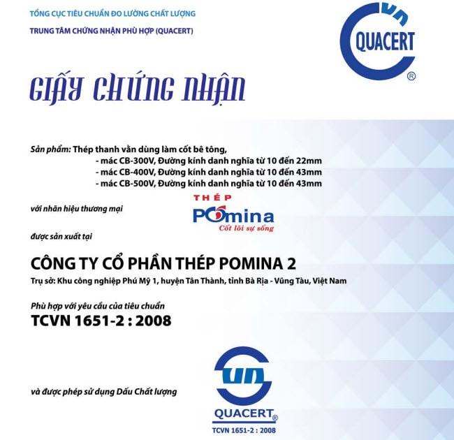 thép pomina đạt tiêu chuẩn TCVN